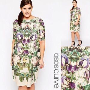 ASOS Curve▫️Botanical Mirror Floral Shift Dress